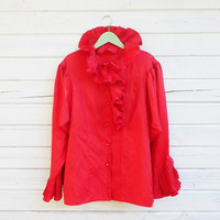 Vintage Scarlet Red Ruffle Blouse