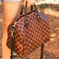 Lv Handbag Shoulder Bag Luggage Boston Bag Women Men Bag Coffee Tartan-1