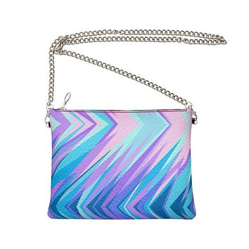 Blue Pink Abstract Eighties Crossbody Bag With Chain by The Photo Access