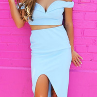 Toronto Skyline Off The Shoulder Crop Top High Slit Blue Two Piece Set