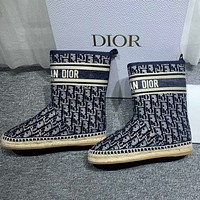 Dior new printed velvet embroidered fisherman shoes ankle boots and fur boots Shoes