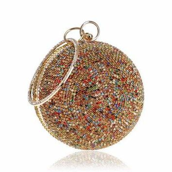 Diamonds Colorful Lady Round Shaped  Evening Clutch Bag