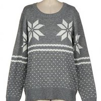 Holiday Spirit Snowflake Print Knit Sweater in Grey | Sincerely Sweet Boutique