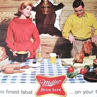1960s Miller High Life / JELLO Print Ad / Ready to Frame / Paper Ephemera / Christmas In July
