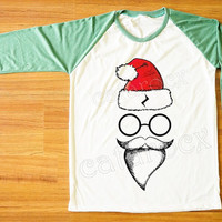 Santa Pott Head T-Shirt Merry Christmas Tee Shirt Funny Shirt Green Sleeve Tee Shirt Women Shirt Men Shirt Unisex Shirt Baseball Shirt S,M,L