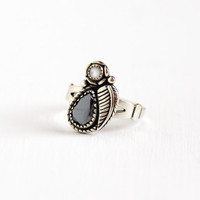 Vintage Sterling Silver Hematite & Mother of Pearl Ring - Size 5 3/4 Retro Southwestern Oval Gray Gem Statement Leaf Jewelry Wheeler WM Co