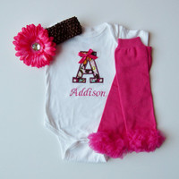 Personalized Monogram Onesuit Baby Girl Gift Set Retro Flowers With Hot Pink Leg Warmers