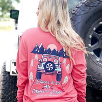"""""""Places To Go & Coffee To Drink"""" Longsleeve- Crimson"""