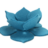 Lily Pad Bowl in 3mm Merino Wool Felt Turquoise