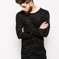 ASOS Long Sleeve T-Shirt In Longline & Textured Fabric - Black