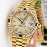 Rolex Lady President Gold Silver Tapestry Dial Sapphire Bezel 69178 - WATCH CHES