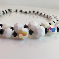 White and Black Necklace, Choker, Aurora borealis, Faceted glass Beads, Multi Strand, Vintage Beads