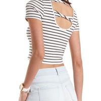 Ivory Combo Striped Twisted-Back Crop Top by Charlotte Russe