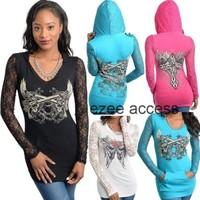 New Sexy Womens Long Sleeve Tattoo Lace Sheer Light Hoodie Tunic Top BLouse S-XL