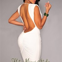 Off-White Ruched Low Back Dress