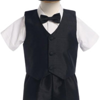 Black Poly Silk Vest & Shorts Outfit 5 Pc Suit with Matching Cap (Baby or Toddler Boys)