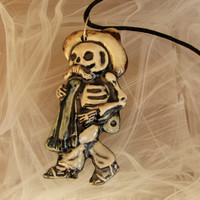 Day of The Dead Necklace Green Scarf