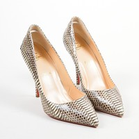 DCCK Christian Louboutin Cream and Taupe Python  Batignolles 100  Point Pumps