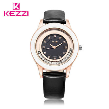 Top Selling KEZZI Band Fashion Casual with Diamond Watch Women 7 Colors Leather Strap Quartz Wrist Watches Ladies montre femme