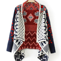 Geometric Pattern Long Sleeve Asymmetrical Knit Cardigan