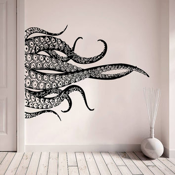 Wall Decal Vinyl Sticker Decals Art Home Decor Design Murals Octopus Tentacles Poulpe Delfish Fish Deep Sea Ocean Bedroom Bathroom AN745