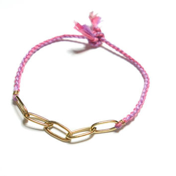 Cute indie hipster bohemian braided purple pink color floss friendship bracelet skinny gold chain unique anthropologie free people inspired