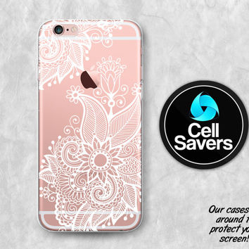 White Henna Clear iPhone 6s Case iPhone 6 Case iPhone 6 Plus Case iPhone 6s Plus iPhone 5c Case iPhone 5 Clear Case White Line Floral Flower