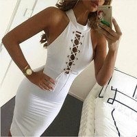 Hollow Bandage Hollow Bandage Sexy Erotic Casual Party Playsuit Clubwear Bodycon Boho Dress _ 8812