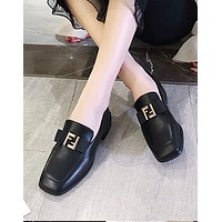 Fendi new female buckle female models wild square head single shoes