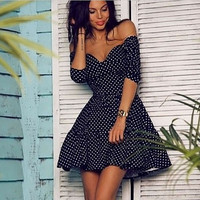 Women Vintage Retro Sexy Swing Rockabilly Polka Dot Pinup V-Neck Strapless Dress SM6