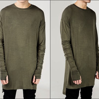 Extended Essential Long Sleeve Drop Back Under T-shirt Viscose Tee -KANYEWST