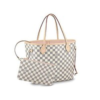 Louis Vuitton Damier Azur Canvas Neverfull MM N41605 Rose Ballerine