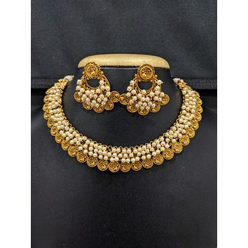 Peacock design Antique Gold plated Choker Necklace and Chandbali Earrings set