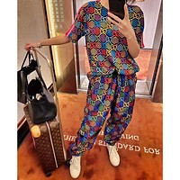 GUCCI New Color Double G Print Couple Short Sleeve Trousers Set