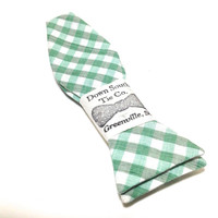 Men's Self Tie Bow Tie - Mint Green Plaid Bow Tie - Casual Bowtie in Cool Mint Green Color - Preppy Style Bowtie