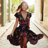Fashion Ethnic Retro Floral Peacock Print V-Neck Short Sleeve Hem Split Maxi Dress
