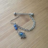 Hamsa Hand - Lapis Lazuli - Earring attached to an industrial barbell