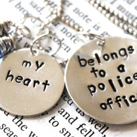 """SALE- Hand Stamped """"my heart belongs to a police officer"""", Police Officer Wife or Girlfriend, Deputy, Cop, State Trooper Necklace"""