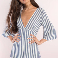 Everly Striped Plunging Romper