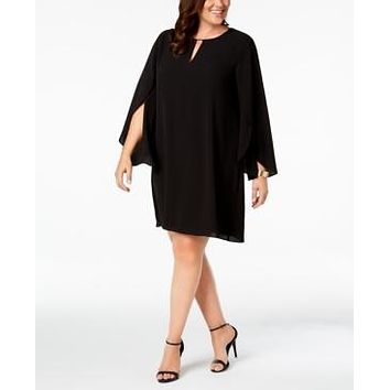 Kensie Womens Plus Keyhole Tulip Sleeves Shift Dress