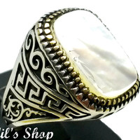 Men's Ring, Turkish Ottoman Style Jewelry, 925 Sterling Silver, Gift, Traditional Handmade, Mother Of Pearl Stone, Size 11.75
