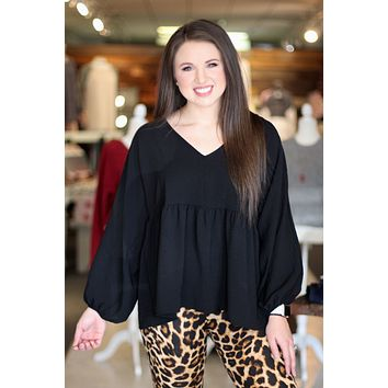 {Black} Chic Babydoll Blouse