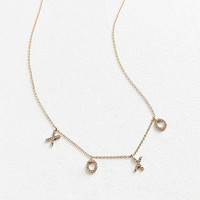 Rhinestone XOXO Charm Necklace | Urban Outfitters