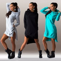 Dress Cotton O-neck Long Sleeve Fashion Casual Style Irregular Solid Hooded Women's Dress