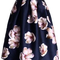 Peach Blossom Midi Skirt in Navy Blue