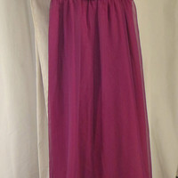 CLEARANCE!! Size 4 1970s Style Plum Maxi Dress, Empire Waist, Polyester Lining w/ Chiffon Overlay, Layered Ruffle Collar, Floor Length Skirt