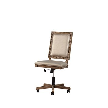 """Best Office Chair - 24"""" X 22"""" X 41"""" Champagne PU Antique Gold Wood Upholstered (Seat) Executive Office Chair"""