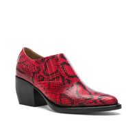 Chloe Rylee Python Print Leather Ankle Boots in Gypsy Red | FWRD