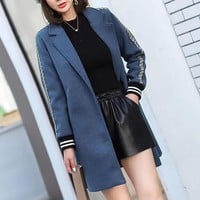 """Fendi"" Women All-match Fashion Multicolor Letter Webbing Long Sleeve Buttons Cardigan Tailored Collar Woolen Coat"