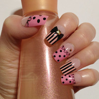 White Pink and Black Nails with Ribbons fake nails by MiCHiMALL